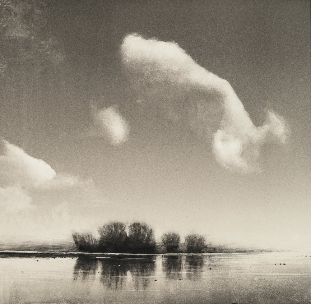 """Wendy Orville,  Nisqually River, Single Cloud , Monotype, 16""""x16"""", 2019"""