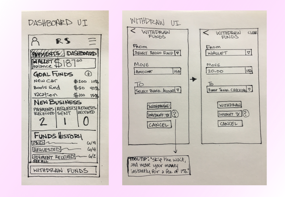 Wireframes for Dashboard UI and Withdraw UI