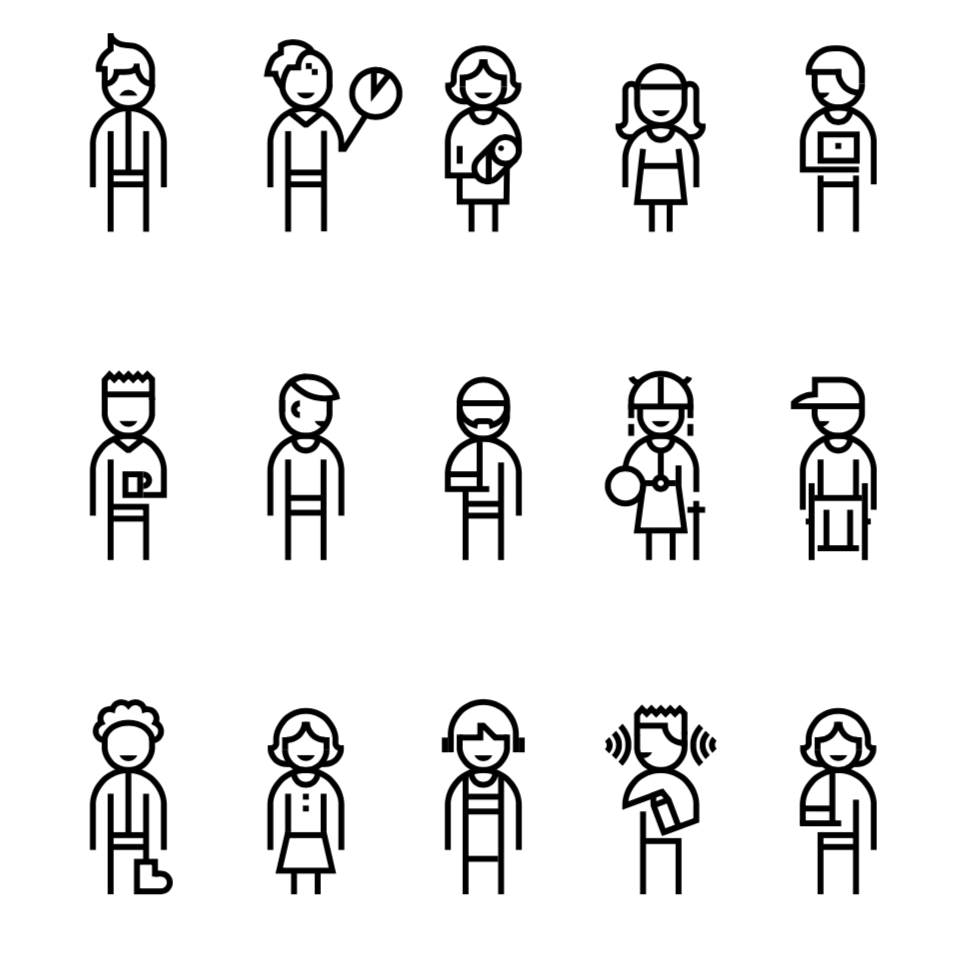 Image description: Illustrations of different figures representing people of different abilities.