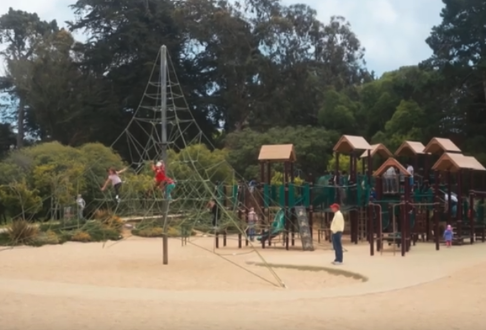 Image description: A playground with a netted climbing structure in the foreground and a play structure with slides in the background.