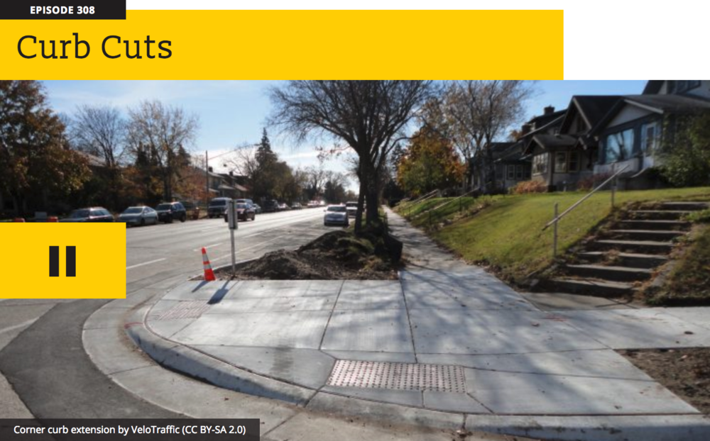 Image description: Screenshot from the article about the history of curb cuts on the site 99percentinvisible.org. The image shows a street corner with a curb cut.