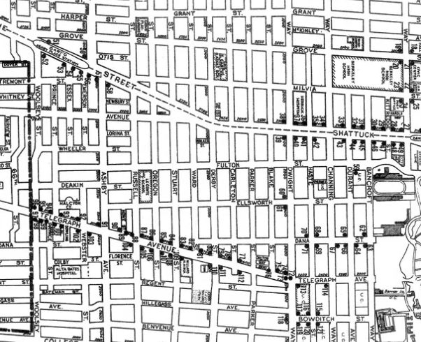 Image description: Berkeley's Wheelchair Route, drafted by Ruth Grimes. Dots indicate the location of 125 new curb cuts. Map from City of Berkeley, Resolution No. 45,605-N.S. (February 13, 1973).