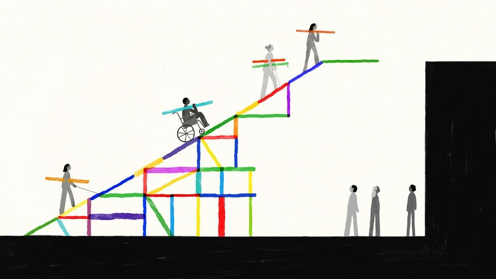 Illustration by Dadu Shin for the New York Times. Description: There are people with disabilities ascending a colorful ramp to a platform.