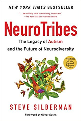 Image description: Cover of the book NeuroTribes: The Legacy of Autism and the Future of Neurodiversity by Steve Silberman. There is an illustration of butterflies and birds clustered around branches of leaves.