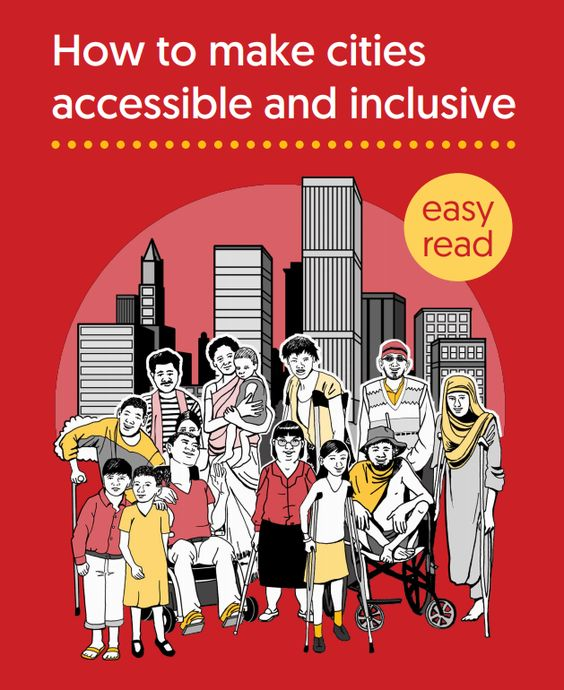 Image description: On a red background, there's an illustration of diverse people with different abilities.