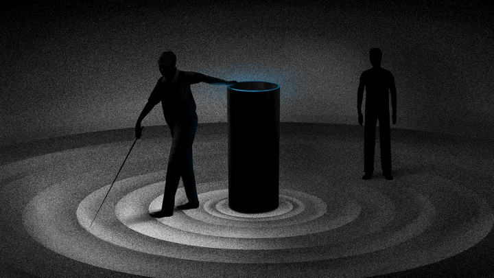 Image description: An illustration that includes an Amazon Echo device, with a figure of a blind man next to it, and another figure in the background that represents the blind man's son.