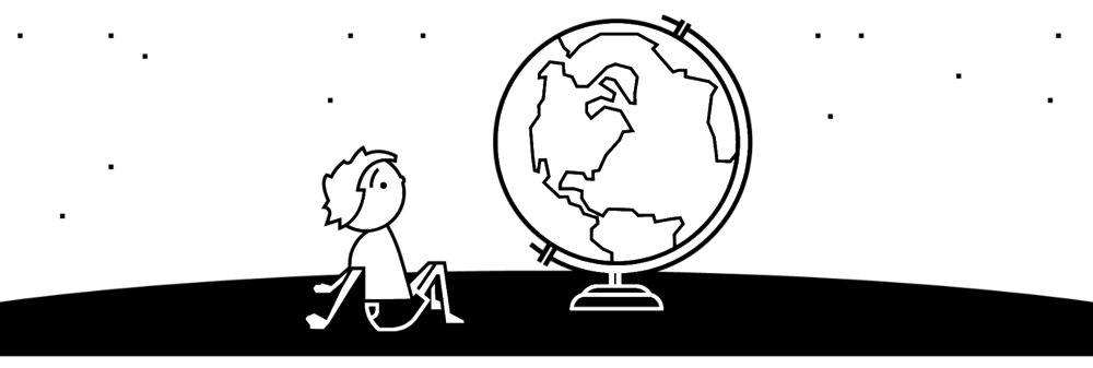 Illustration description: A figure of a child sits, looking up at a larger-than-life globe. In the background, there are dots that mimic stars in the sky.