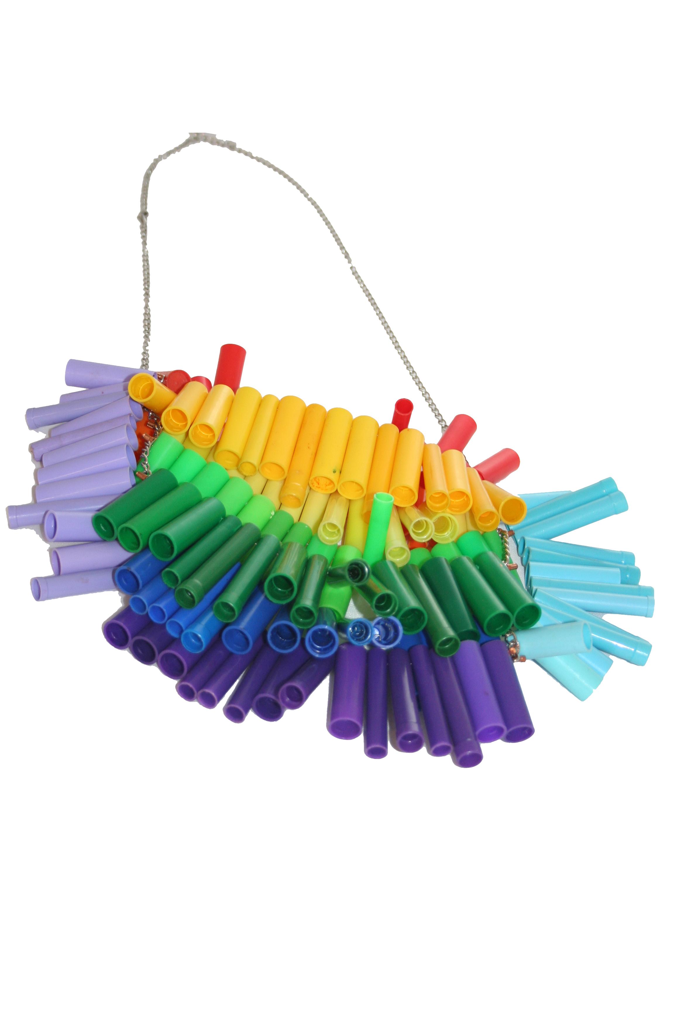 Bib Marker Top Necklace (rainbow)
