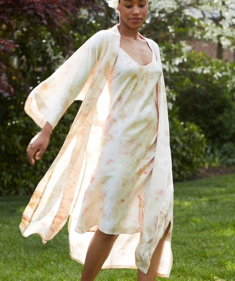 Silk Charmeuse sleepwear and robe from the Liezu Collection