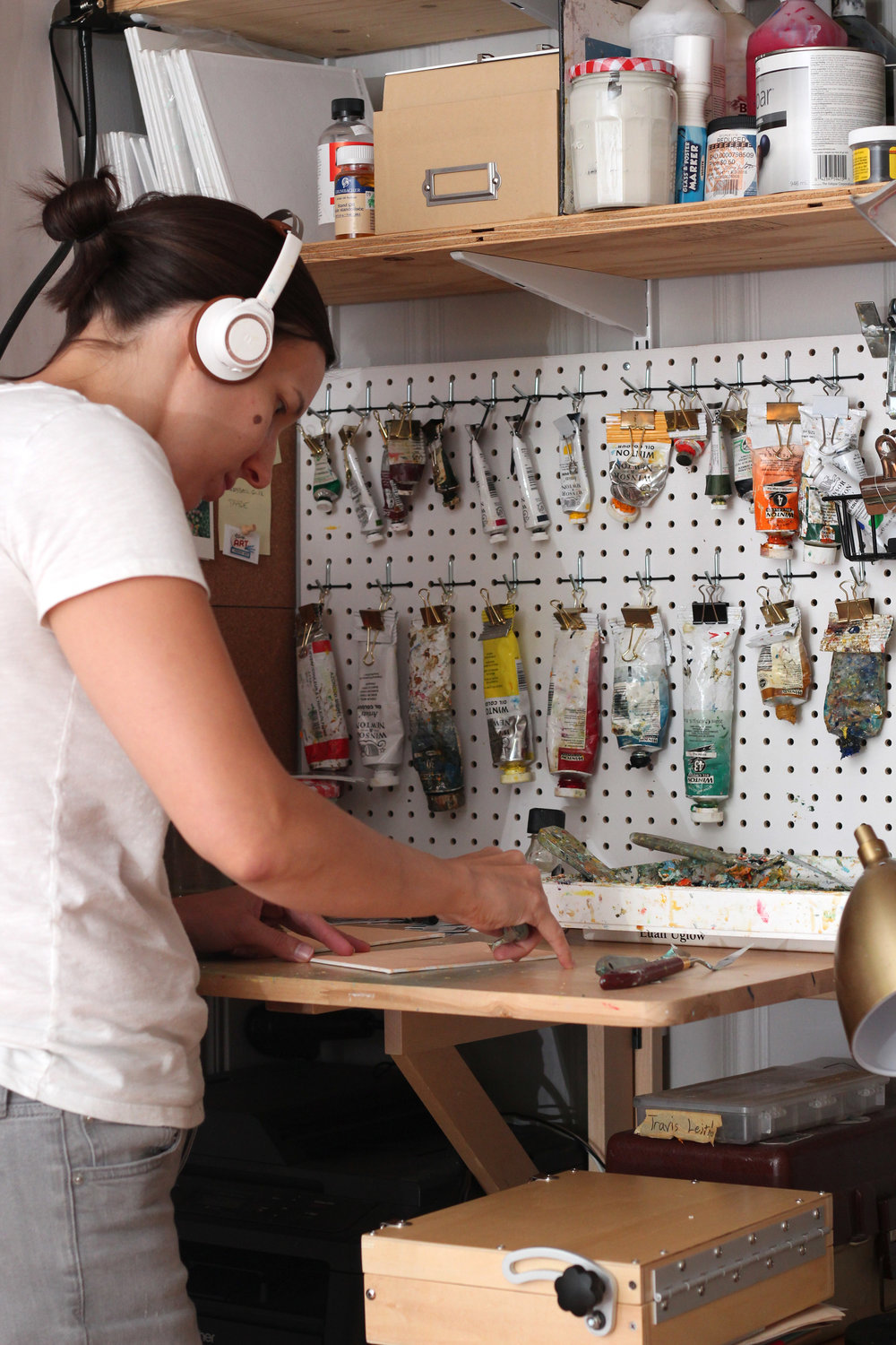 Fields working in her studio