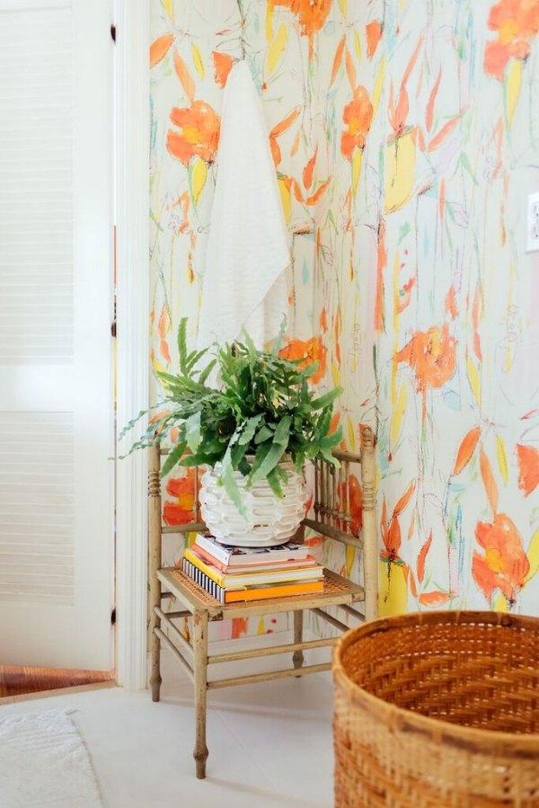 """Macarena"" wallpaper. Designed and styled by  Amanda Louise Interiors . Photo by  Luke Cleland ."