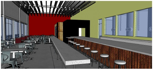 Loophole Brewing taproom rendering by Austin Design