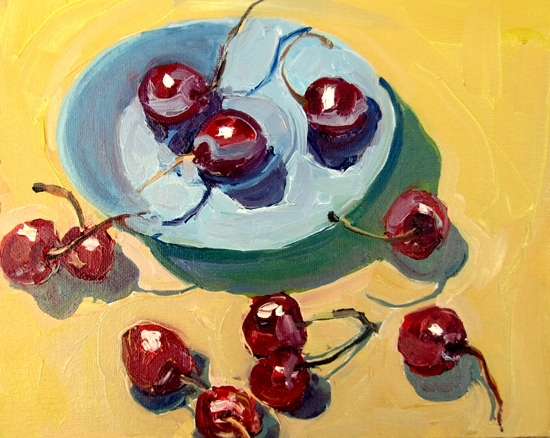 Small Blue Plate and Cherries