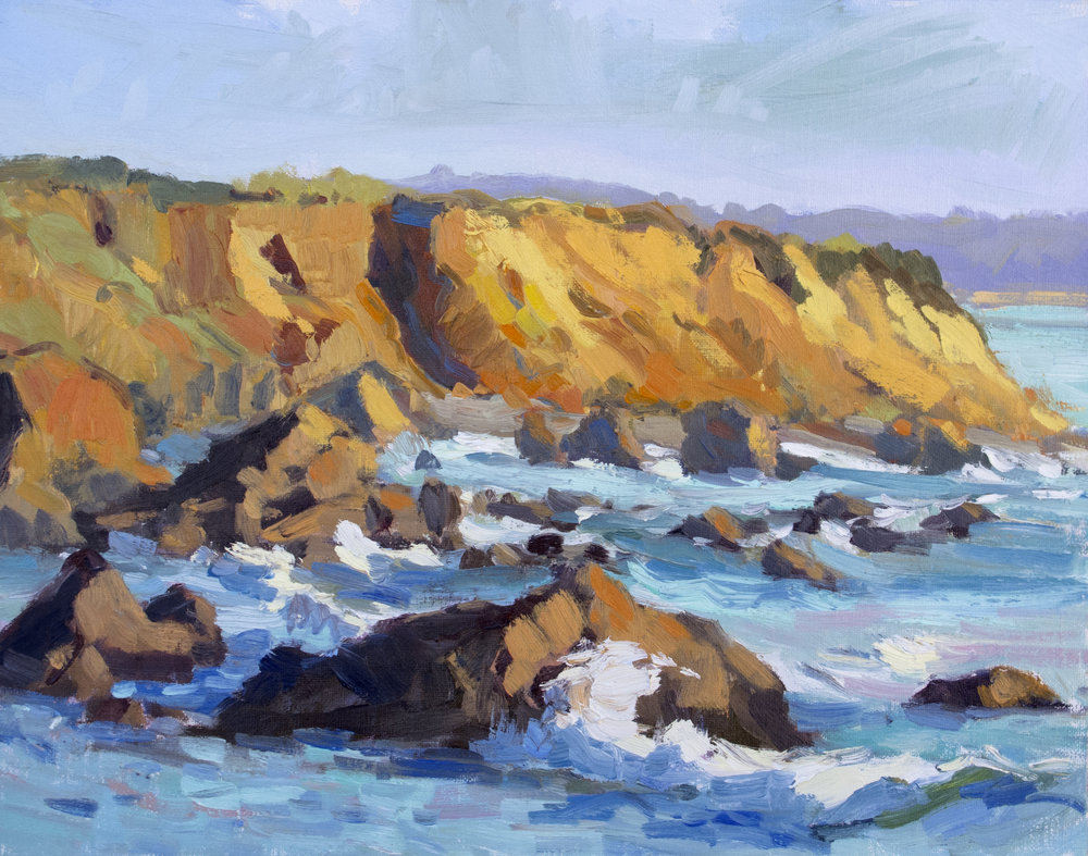 Copy of Mendocino Crashing Waves, 10x12, Oil