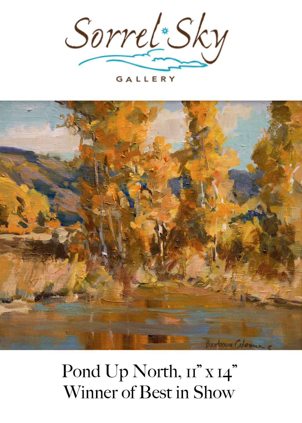 Plein Air Painters of New Mexico National Juried Exhibition Nov. 2018 - I'll be showing work at the Sorrel Sky Gallery in Santa Fe Friday Nov. 2nd, 2018 - Sunday Nov. 28th, 2018Opening Reception & Awards Presentation:Friday, Nov. 2nd 5-7pmhttps://www.papnm.org/2018-10th-National-Juried-Members-Exhibition/