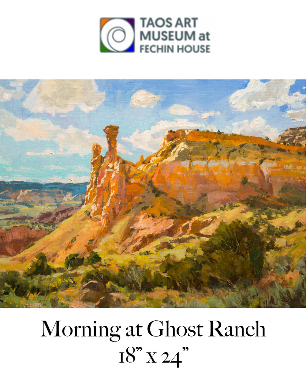Plein Air Painters of New Mexico 2019 Signature Exhibition - Taos Art Museum at Fechin House, November 5, 2019 - March 31, 2019.Opening reception Nov. 10th 3-5 pm at Fechin House in Taos.Stay tuned for more information nearer to the event date!https://www.taosartmuseum.org/upcoming-exhibitions.html
