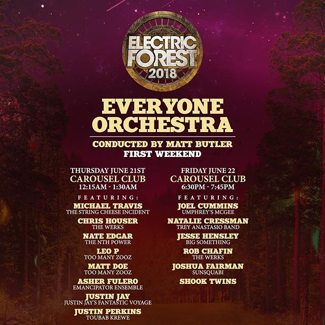 We're heading to @electric_forest festival this weekend in Michigan! So stoked for this one. We have 2 of our own sets on Friday and Saturday AS WELL as joining in on the glory of @everyoneorchestra on Friday night!! Come watch Laur and I come up with improv hooks on the spot! It's terrifyingly awesome!!! #eo #electricforest2018 #improvmusic