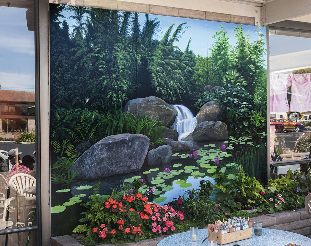 - 12' wide outdoor mural, painted in studio then installed