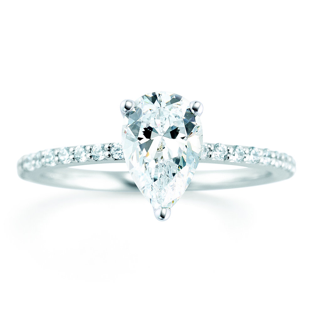 Pear shape diamond engagement ring.