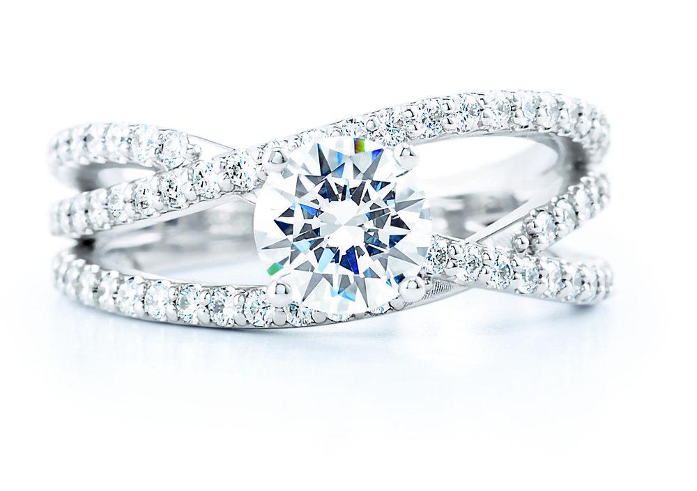 Crossover diamond engagement ring.