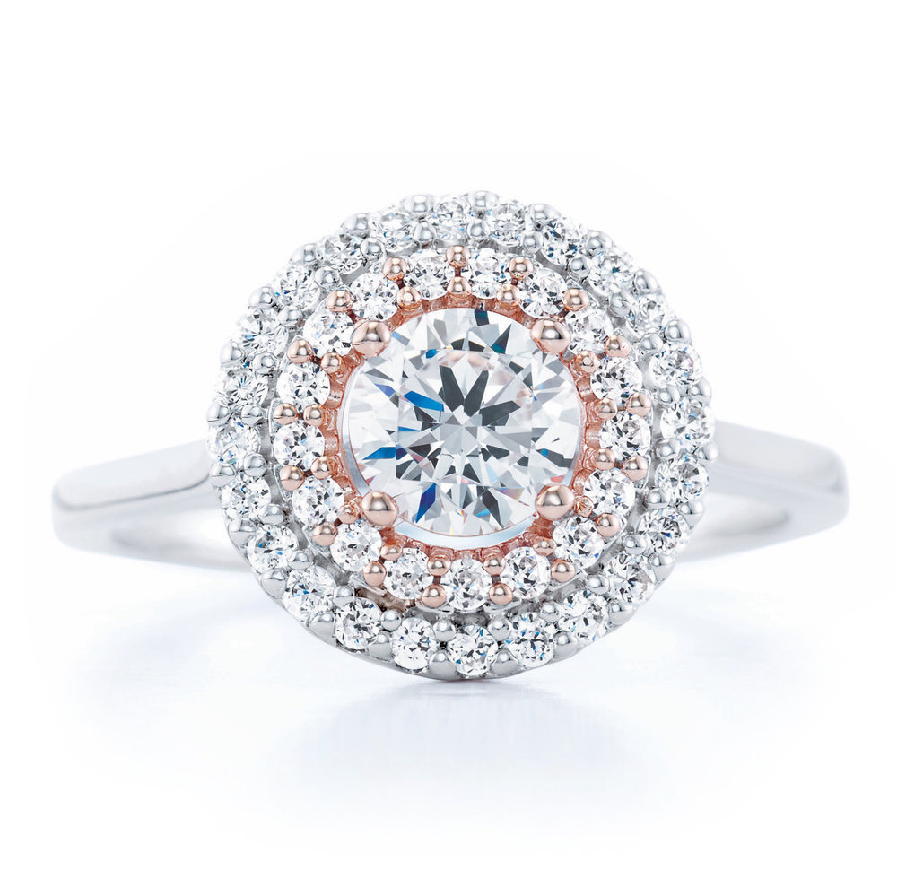 Two tone double halo engagement ring.