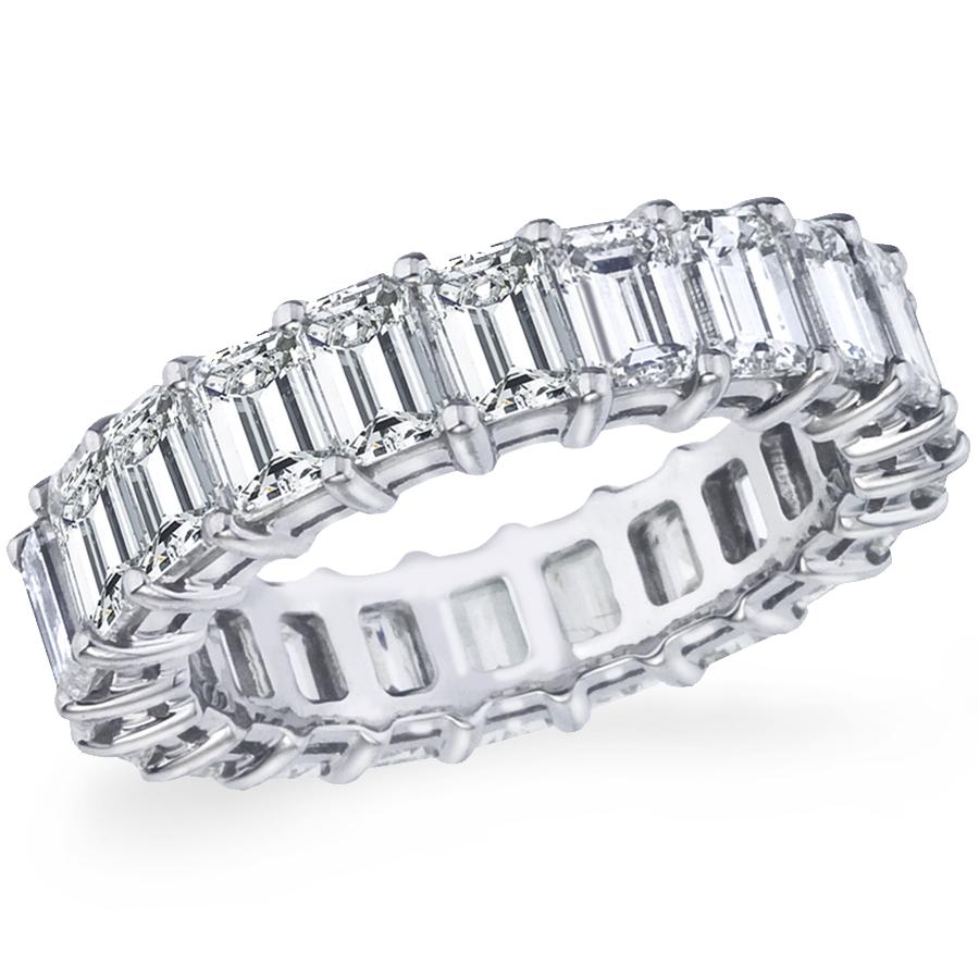 Diamond Eternity Band:23 emerald cut diamonds, 5.17 carat total weight, 18K white gold or platinum.