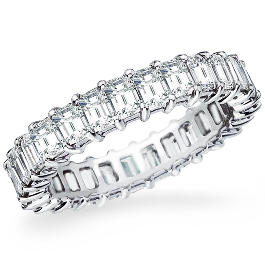 Diamond Eternity Band:27 emerald cut diamonds, 3.25ct, 18K white gold or platinum.