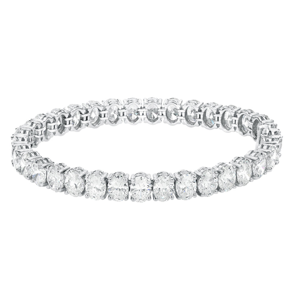 Beautiful oval diamond bracelet handmade and set in platinum with 25 carats of fine diamonds.