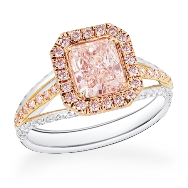 Radiant cut pink diamond ring, 18K rose and white gold or platinum.