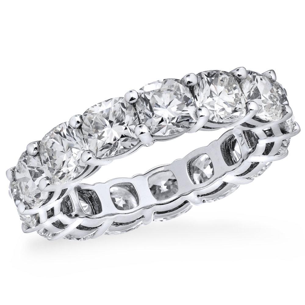 Cushion shape diamond eternity band, 15 diamonds, 6.32 carats total, 18K white gold or platinum.