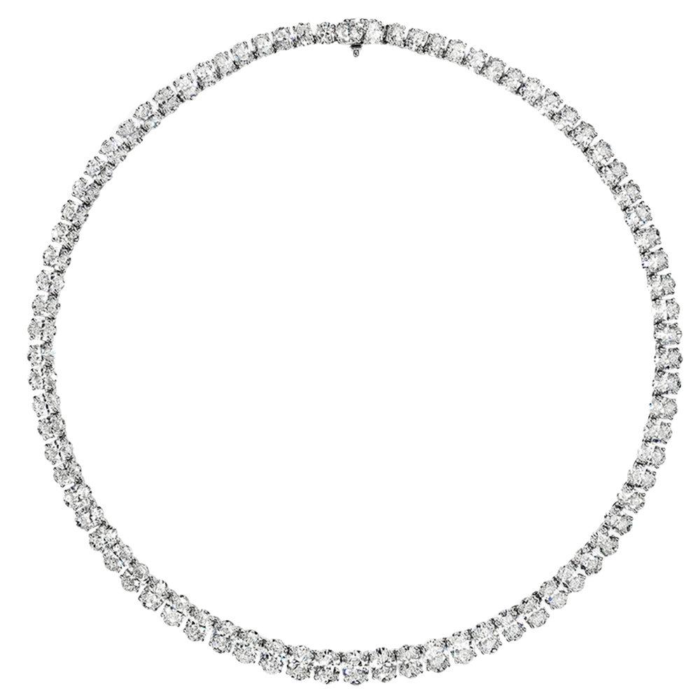 Handmade diamond necklace set in platinum with 45 carats of fine oval diamonds.