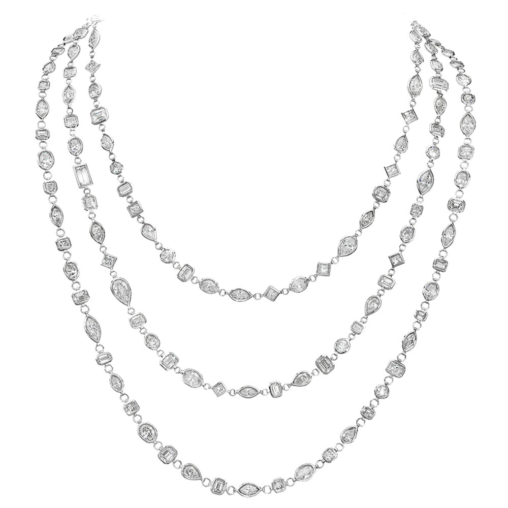 Beautiful three strand diamond necklace, handmade and set in platinum with 100 carats of fine diamonds.