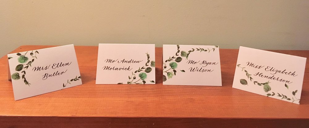 Botanical place cards from Venamour