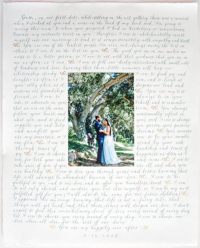 Sample wedding vows in Margo's Modern script