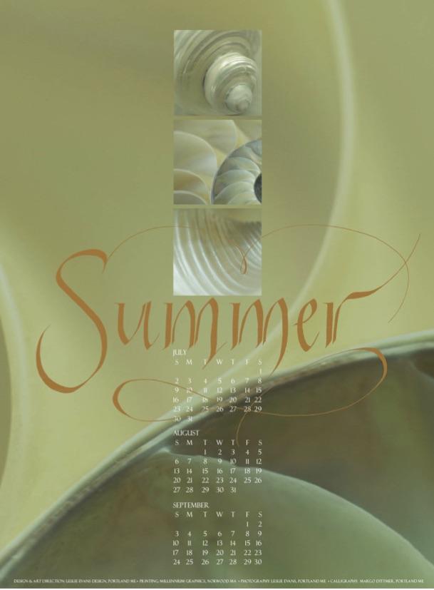 Seasonal calendar for Leslie Evans Designs