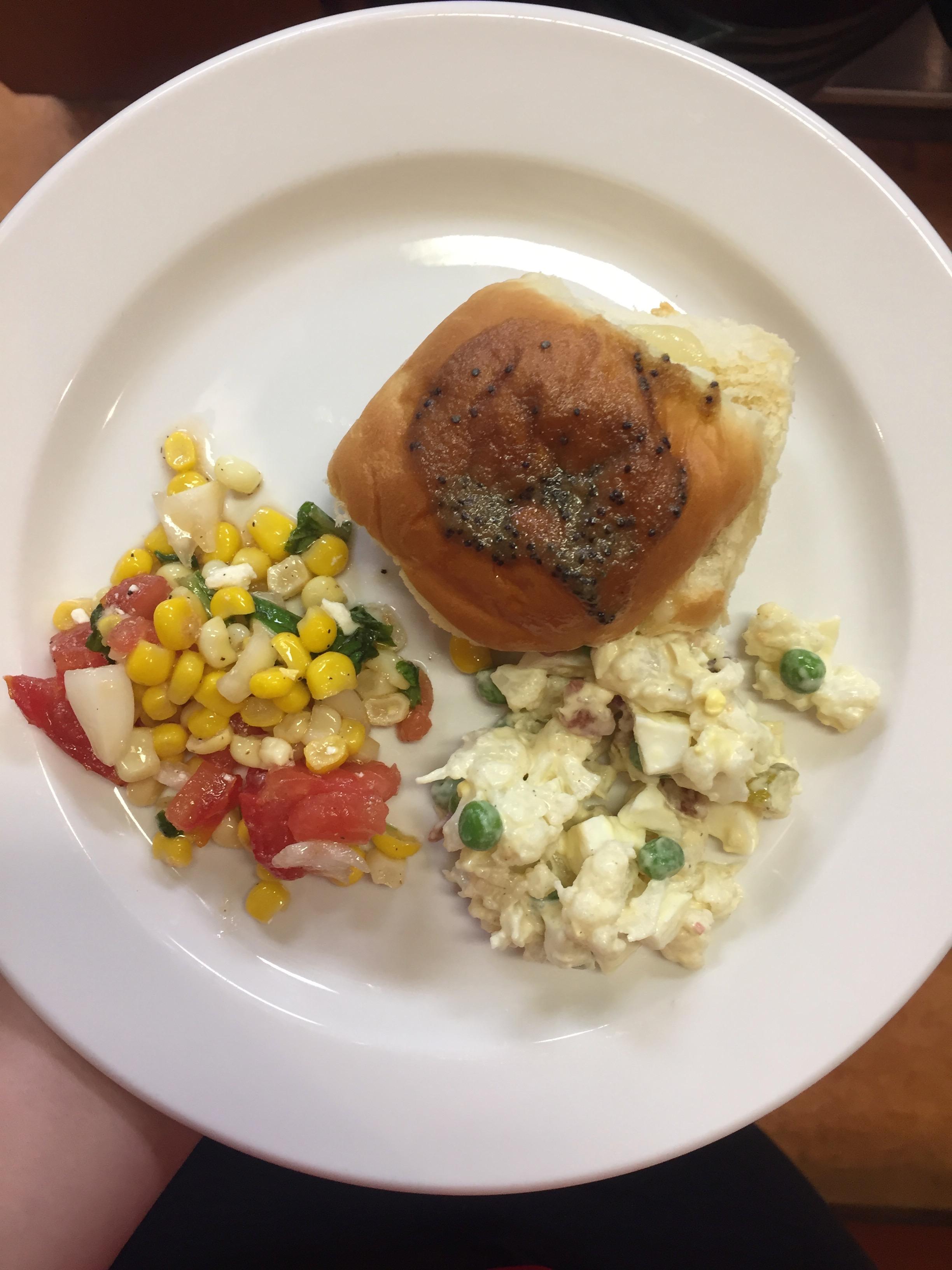 sandwich, corn, and potato salad