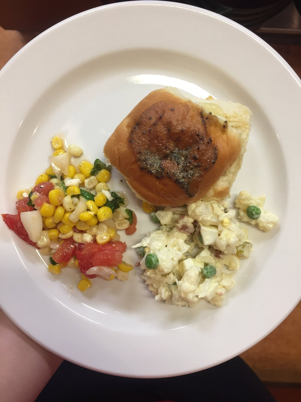 sandwich, corn, and potato salad