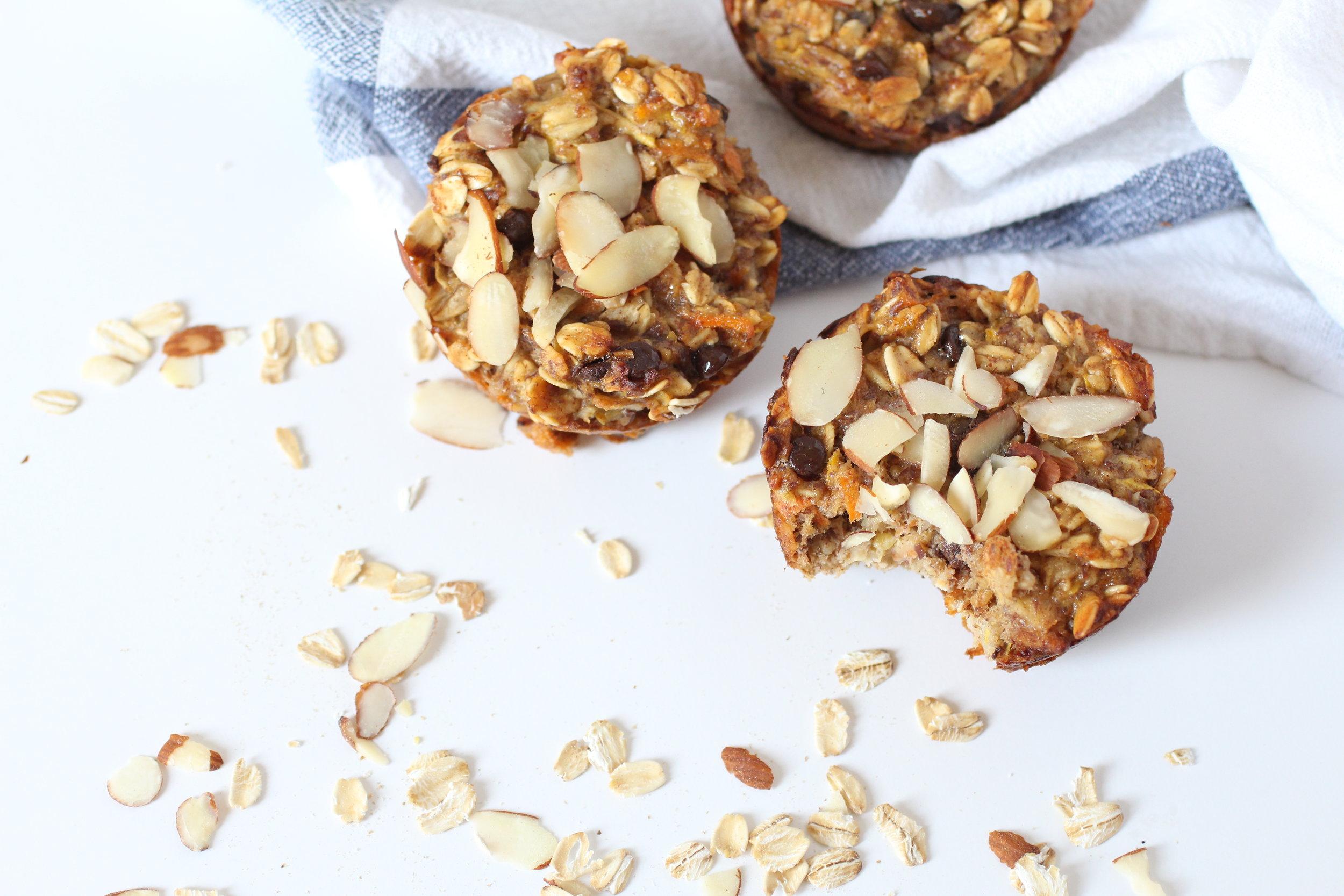overhead view of hidden veggie oatmeal cup muffins