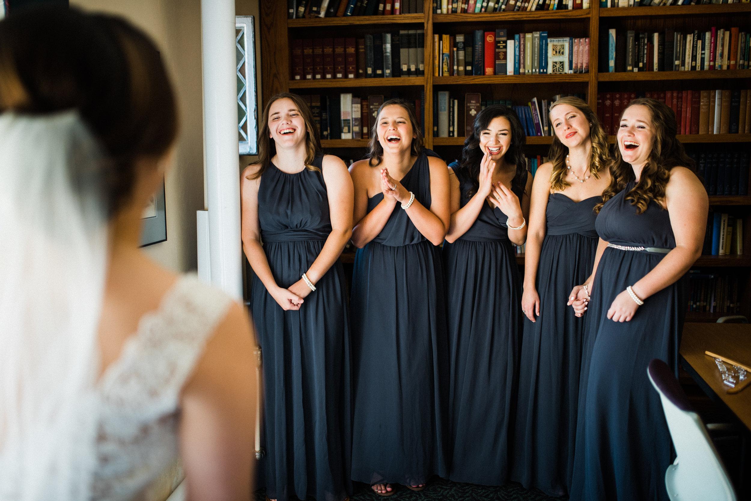 bridesmaid and bride reveal