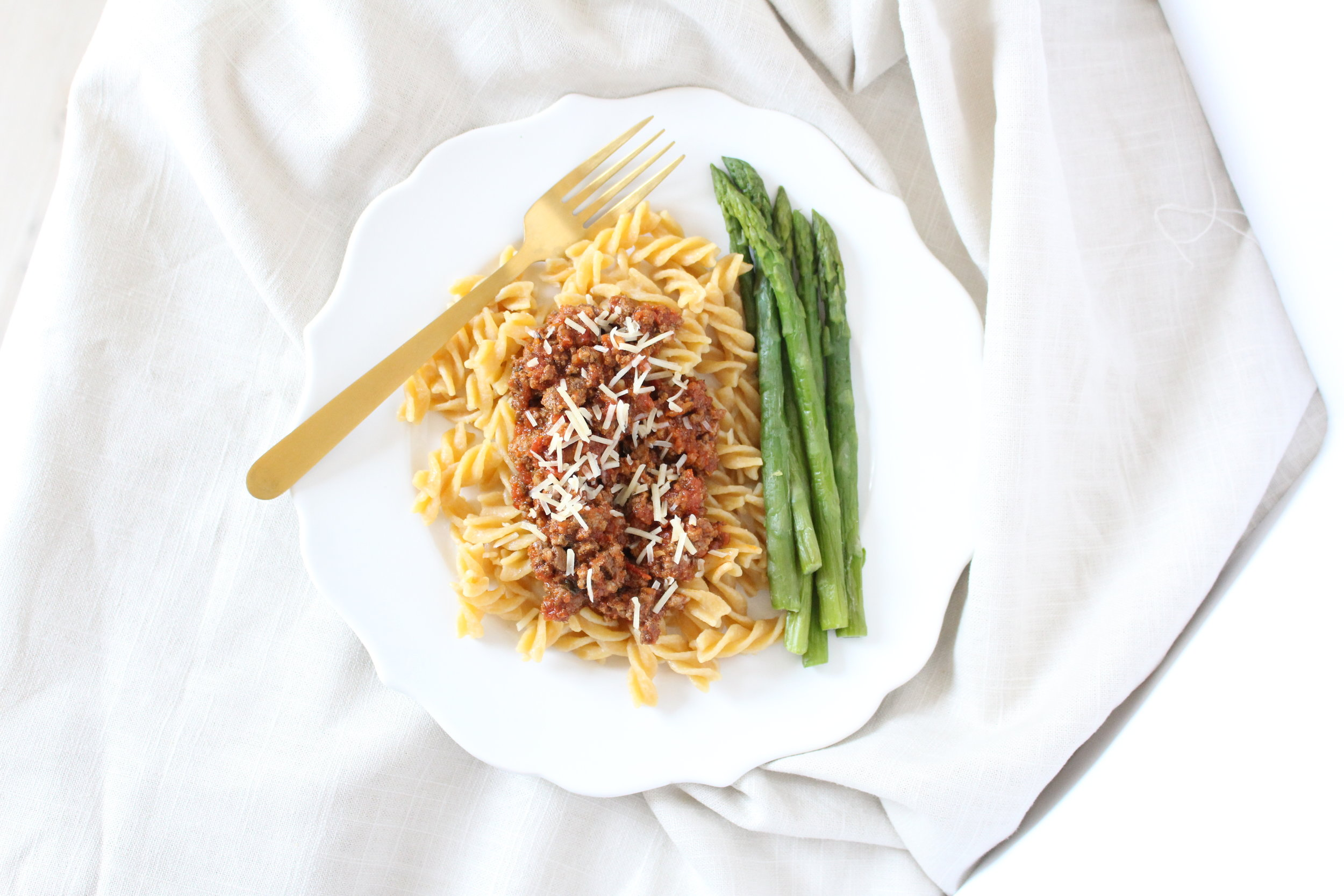intuitive eating and gentle nutrition; chickpea spaghetti with grilled vegetables