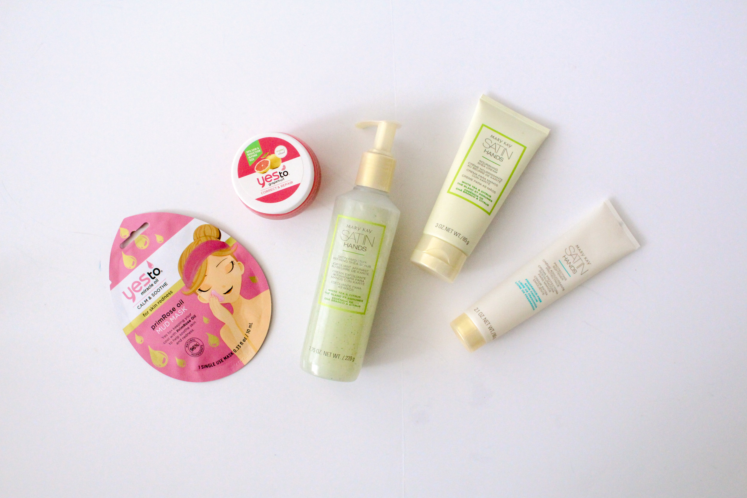 Self care kit with Yes to Primrose face masks and Mary Kay Satin Hands