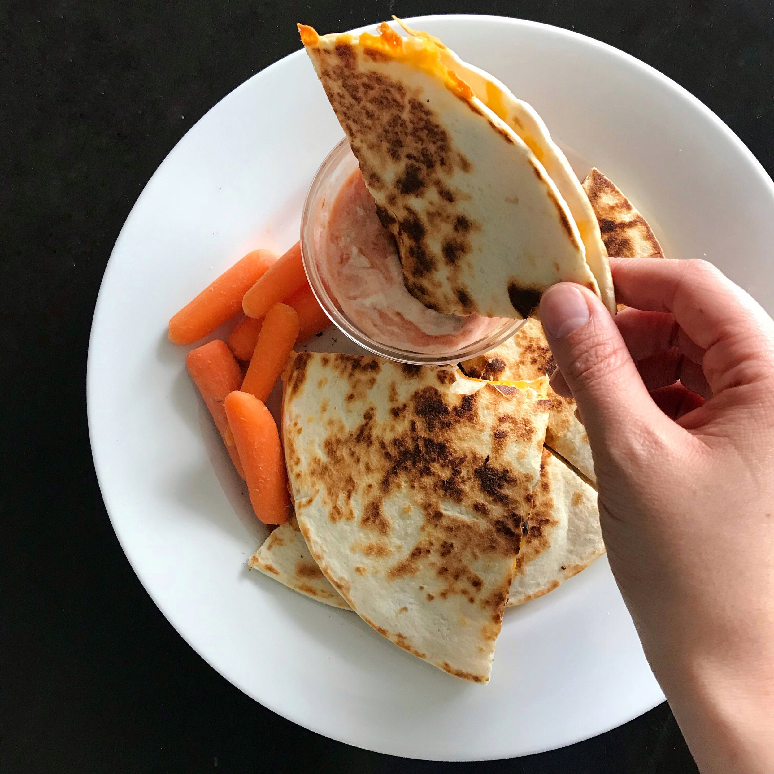quesdilla with dipping sauce
