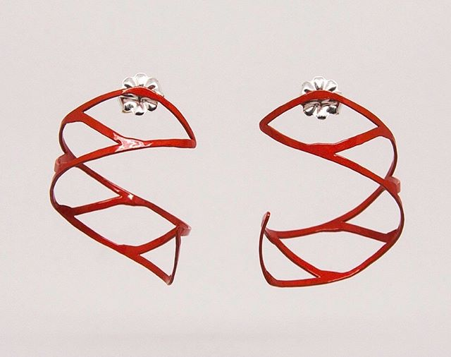 We also have C-Curls in Vermillion!  You WILL  love wearing them!!!#handmade #vermillion #contemporaryjewelry #lovewhatyouwear #makeastatement #hechoamano #joyas #earrings #funearrings #wearart #ladysmiths #colorfuljewelry #fashionablejewelry #jewelrydesign  #sale