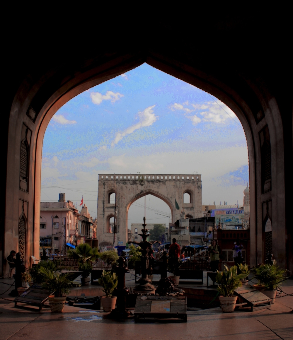 View of one of the gates from the cellar of Charminar .