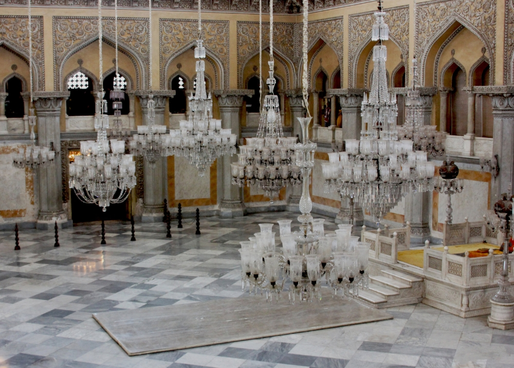 Chowmahalla Palace interior with chandeliers