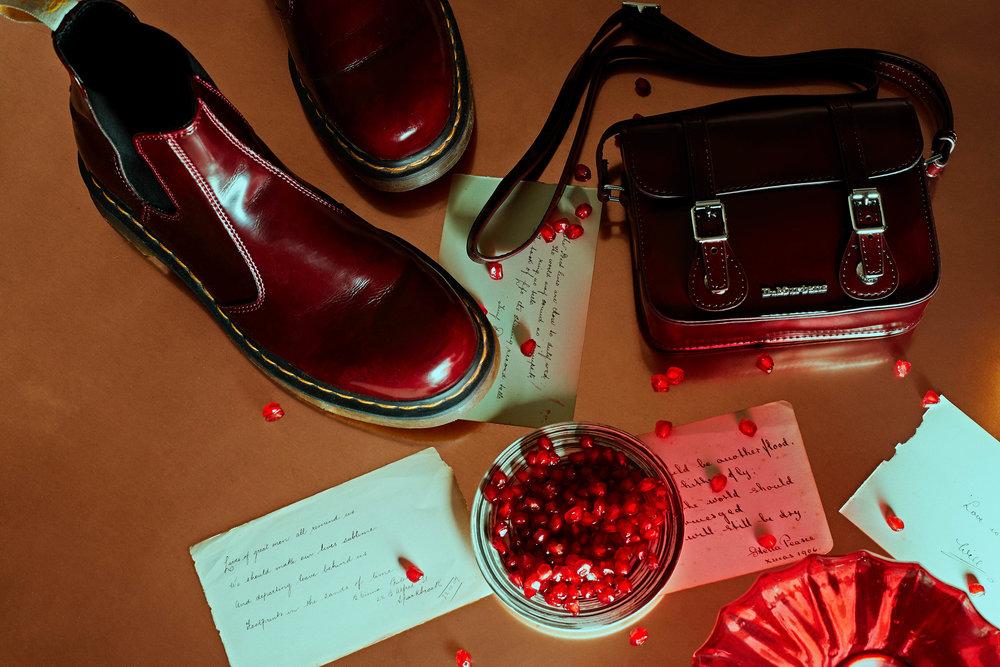 "DR MARTEN  Vegan 2976 Oxford Brush Boots in Cherry Red  £135 +  7""Vegan Satchel in Cherry Red Oxford  £70"