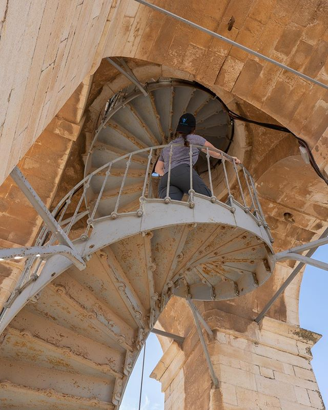 Last month, the VW team traveled to Bethlehem, to digitally document the Church of the Nativity - the birthplace of Jesus.  In this photo, @jillyawner climbs the church bell tower, in search of additional courtyard vantage points. #virtualwonders. Shot by: @akasha_kae