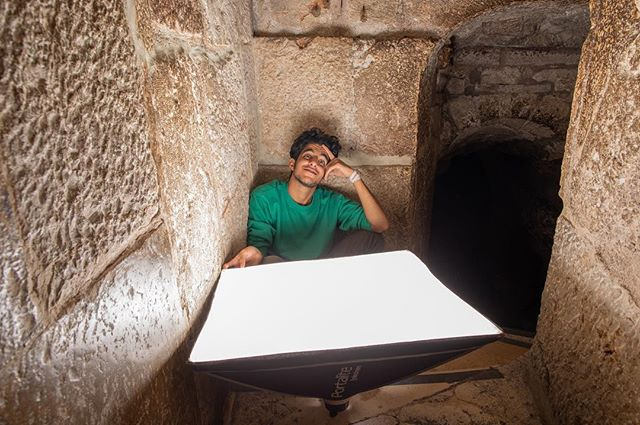Sunflower lighting!  Palestinian contractor, @mutazkawasmi uses a strobe to illuminate the surrounding walls. Last month, the VW team traveled to Bethlehem, to digitally document the Church of the Nativity - the birthplace of Jesus.