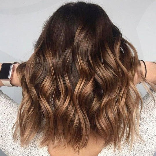 Dark brown with caramel ombre balayage