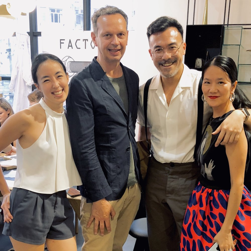 Here reunited again with Mr. Tom Dixon, joined by friends Victoria Chow founder of Kwoon by the Woods and Fashion Stylist, Grace Lam.
